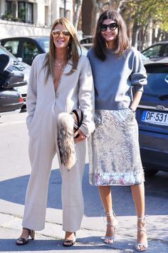 Anna Dello Russo in Céline, Giovanna Battaglia in Acne and Gianvito Rossi