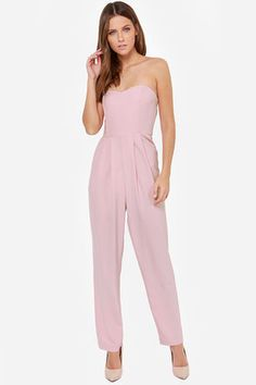 The Got a Crush on You Light Mauve Strapless Jumpsuit has a sweetheart bodice with everything you need like boning, no slip strip in front, and elastic at back. Rompers Dressy, Cute Rompers, Dressy Pant Suits, Reunion Outfit, Freakum Dress, Mauve Dress, Strapless Jumpsuit, Jumpsuit Outfit, Jumpsuit With Sleeves