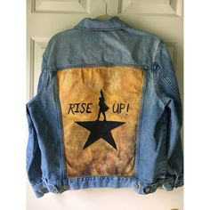 Hamilton Logo Hand-painted Denim Jacket ($70) ❤ liked on Polyvore featuring outerwear, jackets, brown denim jacket, denim jacket, brown jean jacket, logo jackets and brown jacket