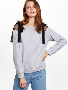 Shop Heather Grey Bow Tie Dotted Mesh Shoulder Sweatshirt online. SheIn offers Heather Grey Bow Tie Dotted Mesh Shoulder Sweatshirt & more to fit your fashionable needs.