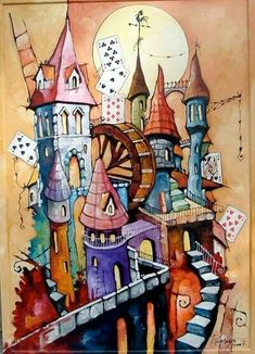 Silk Painting, Painting & Drawing, Glass Painting Designs, Watercolor Architecture, Surrealism Painting, House Drawing, Urban Sketching, Whimsical Art, Stone Art