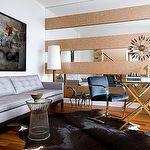 Toronto Interior Design Group - dens/libraries/offices - Brno, Flat Bar, Chairs, teal, blue, velvet, cowhide, rug, platinum, gray, silk, tufted, sofa, mirrored, accent, wall, sunburst, glass-top, sawhorse, desk, art, Knoll Platner Side Table,