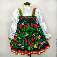 Хохлома клубничка - хохлома,хохломская роспись,сарафан,народный костюм