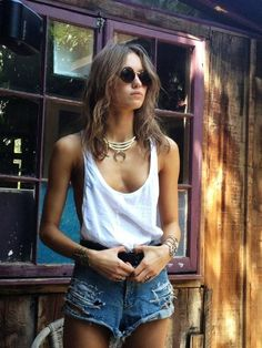 Ripped Denim Short ( Tanks & Denim Shorts )