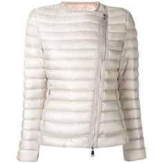 Moncler collarless fitted jacket ($728) ❤ liked on Polyvore featuring outerwear, jackets, white feather jacket, moncler, moncler jacket, white jacket and fitted jacket