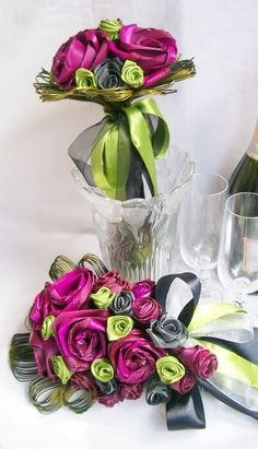 Wedding Bouquets, Wedding Flowers, Flax Weaving, Flax Flowers, Silk Roses, Candy Apples, Rose Buds, Ribbons, Magenta