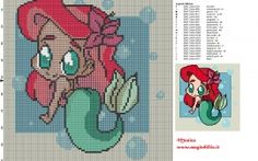 Chibi Ariel cross stitch pattern