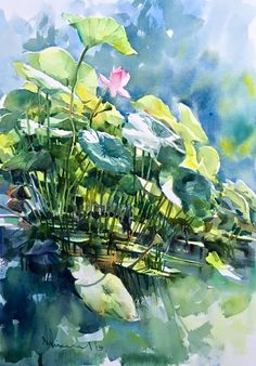 Watercolor Artists, Watercolor Drawing, Watercolor Landscape, Watercolor Print, Landscape Art, Abstract Flowers, Watercolor Flowers, Lily Painting, Lotus Art