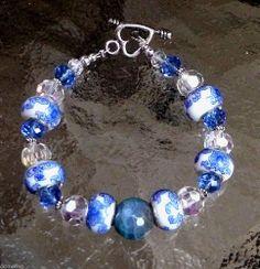 MURANO PORCELAIN CERAMIC BEAD SWAROVSKI CRYSTAL BLUE AGATE BRACELET EARRING SET