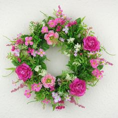 Türkranz Ranunkel rosa pink Wandkranz rosa 30cm Tür Kranz Frühling Sommer rosa