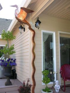 Great Heron downspout ~~~ These copper downspouts were designed and crafted by Vladimir Sumchecko, a Ukrainian immigrant located in the Pacific Northwest.