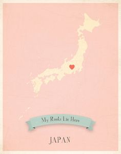 Japan Roots Map 11x14 Customized Print by MyRoots on Etsy