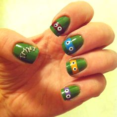 TMNT nails!!  How cute to do this for their party :)
