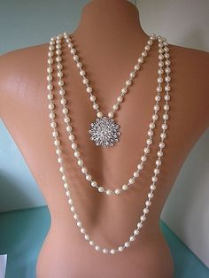 Great Gatsby Jewelry, Wedding Jewelry, Custom Made, Bridal Accessories, Bridal Jewelry, Bridal Backdrop Necklace, Art Deco Jewelry, Pearls on Etsy, $152.00
