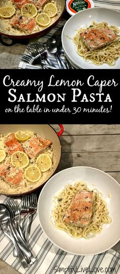 Creamy lemon caper salmon pasta comes together in under 30 minutes and is so delicious! If you like salmon and lemon caper sauces, try this recipe today!