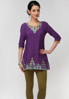 Solid Cotton Dark Purple Kurti Online Shopping - G   XG678WA28YKDINDFAS