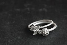 Fresh Spring sale, Happy bulb and Lilly, Silver stackingrings set, stack rings, Romantic ring, Gift for her