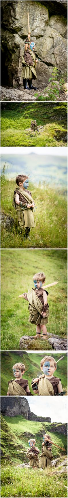Braveheart: A simple DIY guide on how to do a Scottish-themed children's LARP or cosplay photo shoot with costume, prop and location ideas from findingstorybookland.com. Also perfect for Outlander!