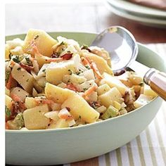 Try this Pennsylvania Dutch Potato Salad for something different; the dressing's bacon drippings barely temper the sweet-tart notes from sugar, cider vinegar, and white vinegar. We halved the amount of bacon and bacon grease to cut calories and saturated fat, so a few slices of flavorful applewood-smoked bacon stand in to extend flavor. Serve warm or slightly cooled.