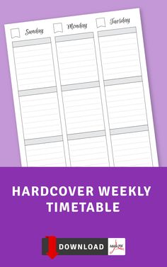 Hardcover Weekly Timetable template gives you the opportunity to organize your activities and keep track of your schedule without unnecessary distractions. If you need more templates to improve your efficiency and master your time, browse the collection of templates that offers a great variety of designs. Download file and get it printed using any printer that you have access to or use it with Noteshelf, Notability, Goodnotes and Xodo for your iPad