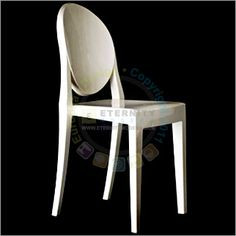 The Victoria Ghost Chair was first introduced in 2002 by French designer Philippe Starck, and is the world's most innovative example of a single-mold injected polycarbonate chair. The Victoria Ghost Chair was designed in the style of Louis XV, which is characterized by its classic lines and rounded backrest. The chair is made of a transparent or colored polycarbonate. The injected polycarbonate makes the Ghost Chair a very durable, comfortable, and weather resistant product.