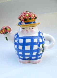 clay art san francisco cat teapot garden teapot flower teapot