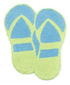 Look what I found on #zulily! Blue & Green Flip-Flop Hooked Rug #zulilyfinds