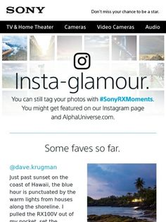 Your Spot on Our Instagram Page is Waiting Email Newsletter Design, Email Newsletters, Home Tv, Email Campaign, Home Theater, Coupon Codes, Coupons, Sony, Waiting