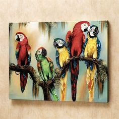 Deeply inquisitive eyes peer out of the hand-signed canvas, focusing Feathered Curiosity on you. Delightful macaws are naturally curious birds. Giclee art is stretched over a wooden frame. Made in the USA. Diy Canvas, Acrylic Painting Canvas, Canvas Wall Art, Painting Abstract, Parrot Painting, Animal Paintings, Bird Art, Indian Art, Oeuvre D'art