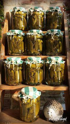 Violettaságok: Savanyú uborka Pickling Cucumbers, Fermented Foods, No Bake Cake, Preserves, Pickles, Food And Drink, Homemade, Tableware, Chili