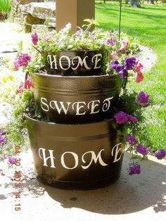 Repurposed galvanized tubs...makes the perfect front door greeting!~cmr