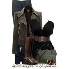 Black Doublju Women's Faux Leather Power Shoulder Jacket, black deep plunge neck belted top, skinny jeans, brown riding boots.
