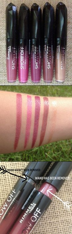 Rimmel Show Off Lip Lacquers with Shimmers. I Love lacquers! Love Makeup, Beauty Makeup, Hair Beauty, Makeup Swatches, Makeup Dupes, Makeup Products, Beauty Products, Banana Face Mask, Lip Lacquer