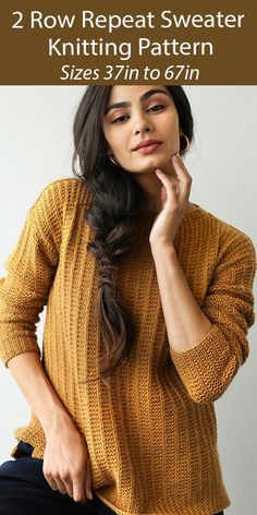 """Sweatear Knitting Pattern 2 Rwo Amber Pullover - Easy sweater suitable for beginners according to designer. This cozy pullover is worked flat in separate pieces using an easy 2 row repeat garter rib texture pattern. The front and back are exactly the same and don't have any shaping. Sizes 36 1/2 (40, 43 1/2, 46 1/2, 50, 53 1/2, 57, 60, 63 1/2, 67)"""" One of the patterns in Quick + Easy Knits ebook. Designed by Rachel Brockman. Aran weight yarn."""