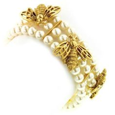Vintage Couture Pearl Gold Bumble Bee Bracelet Gold Plated 1928. $80.94