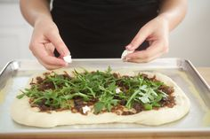 Working on the Caramelized Onion and Fig Pizza
