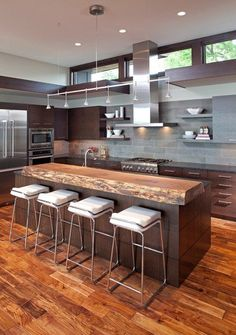 A collection of 17 extraordinary contemporary kitchen designs with an aim to help you choose the best fitting kitchen design for your contemporary home. New Kitchen, Kitchen Dining, Kitchen Decor, Kitchen Ideas, Rustic Kitchen, Küchen Design, House Design, Design Ideas, Wood Countertops