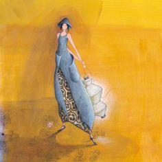 """Gaëlle Boissonnard  carte postale carrée (14 cm)  """"Le lampion blanc"""""""