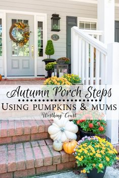 Click here for inspiring fall porch decor ideas that you can use at your own home. #frontporchdecorideas #cutefallporchideas, #curbappeal, #fallporchdecoratingideas, #fallporchmums, #fallporchdiy, #fallporchrustic, #fallporchplanters, #fallporchsteps, #fallporchpumpkins, #fallporchwreath, #pumpkins, #pumpkindecor, #porch, #porchdecor, #fallporch, #farmhouse, #falldecor, #autumndecor, #outdoorfalldecor, #falldoordecor, #mums