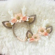 Deer Antler Crown Headband // peaches and cream by BakerBlossoms visit us on can. - Deer Antler Crown Headband // peaches and cream by BakerBlossoms visit us on can. Felt Headband, Unicorn Headband, Crown Headband, Baby Headbands, Antler Headband, Felt Diy, Felt Crafts, Diy And Crafts, Felt Flowers