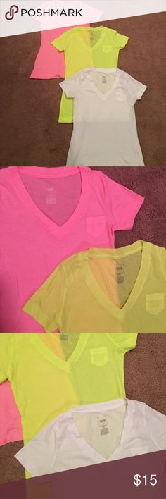 Bundle of 3! V-neck pocket T's Mossimo by Target. Boyfriend Tees in neon colors. Lot of 3. Haven't been worn! Only white one has.....Excellent condition!!!!!! Mossimo Supply Co Tops Tees - Short Sleeve