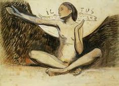 Paul Gauguin ICTUS - 1889. Paper collage, water color & oil on paper. Collection Daniel Malingue.