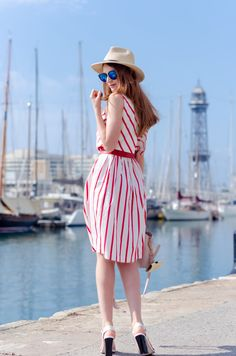 Stripe midi dresses by the sea in Barcelona and a personal story