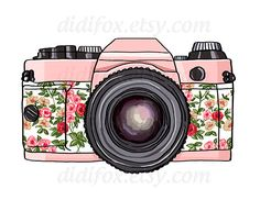 Retro pink photo camera floral print Printable Digital by DidiFox,