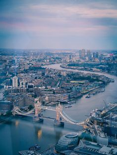 Tower Bridge and Canary Wharf view from The Shard | Camille Blais on Flickr, August 2013