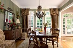 Charmant Images Of Three Window Dining Room Curtains | Curtains And Drapes Green Dining  Room, Formal