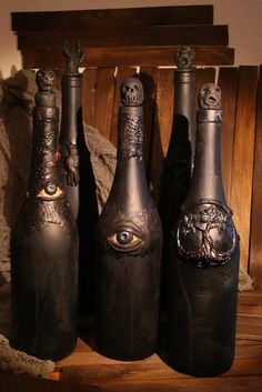 Upcycled wine bottles for that creepy Halloween decor. Looks great in a group or in a witch/apothecary shelf. Upcycled wine bottles for that creepy Halloween decor. Looks great in a group or in a witch/apothecary shelf. Halloween Prop, Diy Halloween Decorations, Holidays Halloween, Halloween Crafts, Happy Halloween, Group Halloween, Outdoor Decorations, Halloween Halloween, Vintage Halloween