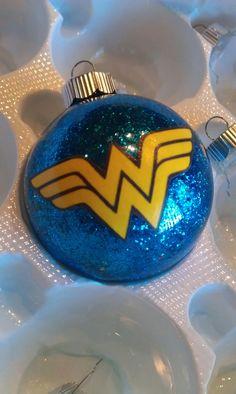 Glitter Wonder Woman ornament. #Wonderwoman #Superhero #Christmasornament