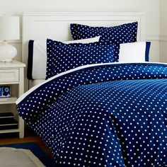 Navy Dot Duvet - cute for a guest bed, though probably too ditsy for the master bedroom.
