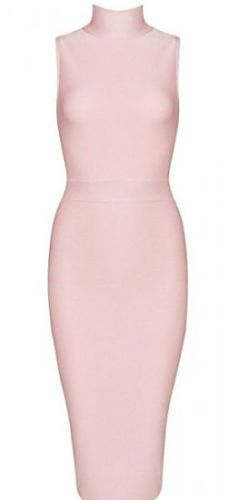 Buy Light Pink Bandage Dress This dress is elegant, body-con fit, mock turtle neck, length below knee and back zipper Material- 90% rayon /9% nylon/ 1% spandex Color - Light Pink Size - X-Small, Small